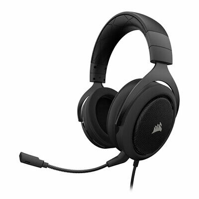 Corsair Gaming HS50 Stereo Headset, Carbon, 50mm Drivers, 3.5mm 4-pole, for PC/M