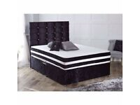 SAME DAY DELIVERY -- BRAND NEW DOUBLE / KING CRUSHED VELVET DIVAN BASE BED WITH DEEP QUILT MATTRESS