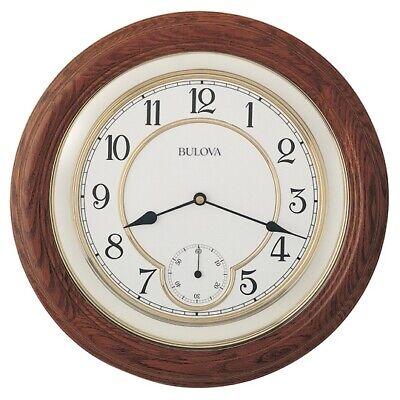 *BRAND NEW* Bulova William14 in. Solid Oak Wall Clock C4596