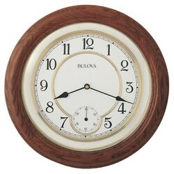 *BRAND NEW* Bulova William14 in. Solid Oak Wall Clock C4596
