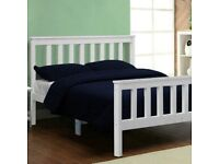 King Size White Wooden Bed Frame Solid Pine for Adults, Kids, Teenagers