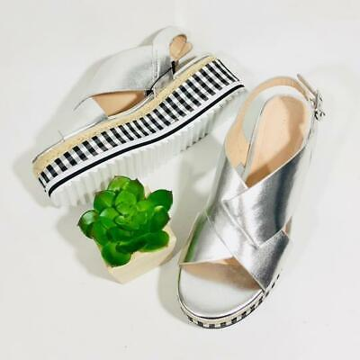 ZARA SILVER CROSSOVER STRAPS PLATFORM WEDGE SANDALS SIZE UK 4 EU 37 USA 6.5 for sale  Shipping to Nigeria