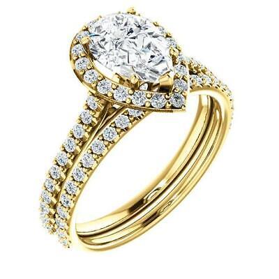 2.50 Ctw Halo Pear Cut U-Setting Pave Diamond Engagement Ring Set F,SI1 14K WG 4