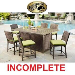 NEW* HB 7 PC HIGH PATIO DINING SET - 116105319 - HAMPTON BAY CAROL STREAM BALCONY HIGH