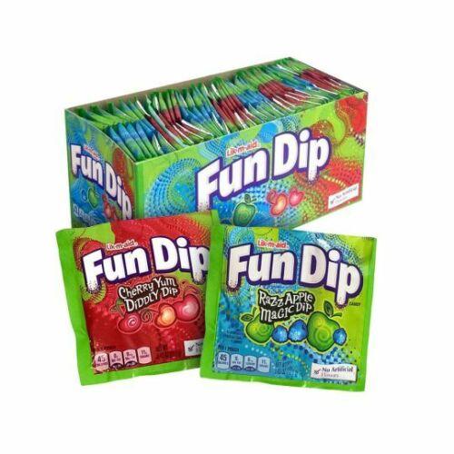 Fun Dip Candy 48 Count Box Lik-M-Aid Fundip Powder Sugar Bulk Candies 1.29 LB