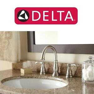 NEW DELTA 2 HANDLE BATHROOM FAUCET PORTER, WIDESPREAD, BRUSHED NICKEL POP UP DRAIN INCLUDED 102222466