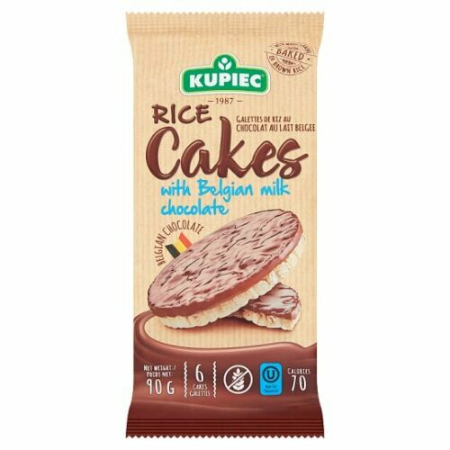 Kupiec Rice Cakes with Belgian Milk Chocolate 90g (Package of 6 Rice Cakes)