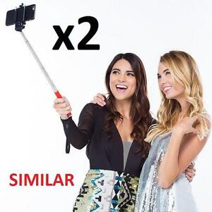2 NEW MINI PORTABLE SELFIE STICK RED, SCOTIABANK PROMO, 3.5MM WIRE CONNECTION FOR IPHONE AND ANDROID 100161590