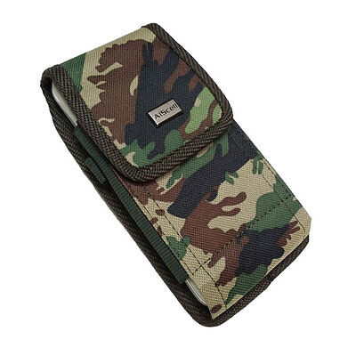 Camouflage DUTY NYLON Pouch Canvas Case Belt Loops Holster+Hook For ZTE ZMAX Pro