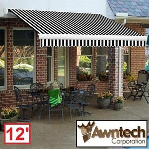 NEW AWNTECH 12' MOTORIZED AWNING - 116097759 - BEAUTYMARK (10 ft. Projection) BLACK TAN STRIPE AWNINGS SHADE OUTDOOR ...