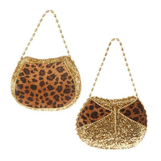 "RAZ Imports 4"" Leopard Animal Print Purse Ornaments S/2 Gold Glitter Christmas"