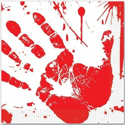 Bloody Handprints Lunch Napkins Slaughter House Halloween Party - Halloween Handprints