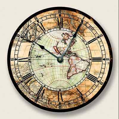 ANTIQUE MAP Wall CLOCK - Western Hemisphere - Old World Look - 7013_FT ()