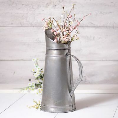 Country new large Antiqued Brushed tin decor pitcher