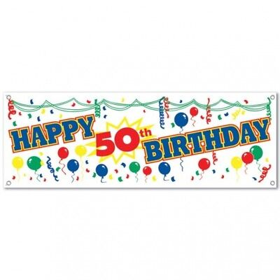 Happy 50th Birthday Sign Banner Plastic 5' x 21