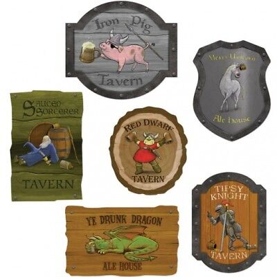 Medieval Tavern Sign Paper Cutouts 6 Pack Medieval Renaissance Party - Medieval Party Decorations