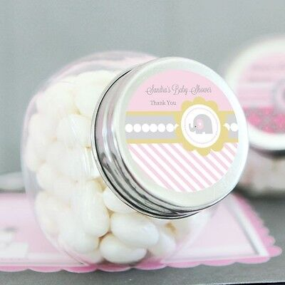 24 Pink Elephant Baby Shower Personalized Candy Jars Favors Lot (Baby Shower Candy Jars)