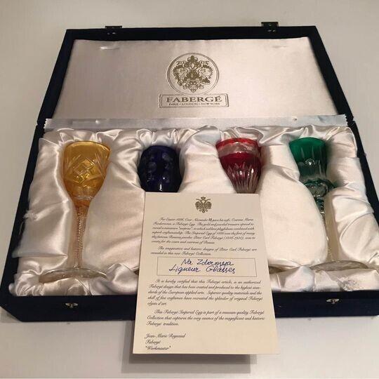 """Signed Faberge """"Na Zdorovye"""" multi-colored Liqueur Glasses Set of 4 in Velvet Pr"""