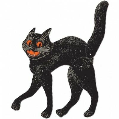 """Vintage Halloween Jointed Scratch Cat Cutouts 20.5"""" Paper Halloween Decorations"""