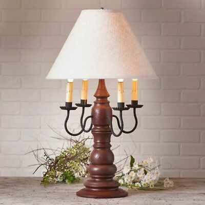 Colonial new large BRADFORD Americana Red finish wood table lamp w/ Linen shade