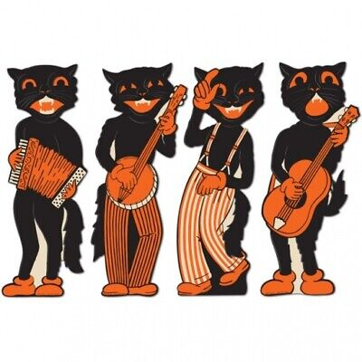Halloween Decorations Supplies (Vintage Halloween Scat Cat Band Cutouts Halloween Party Decorations)