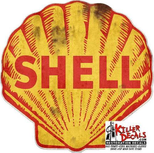 """(shell #3R) 12"""" SHELL RUSTY gasoline pump LUBSTER DECAL GAS OIL STICKER"""