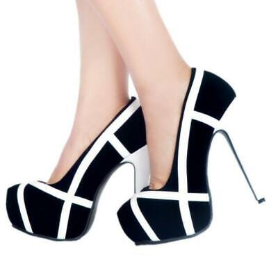 Sexy Womens Super High Heel Pumps Round Toe Stiletto Platform Casual Party Shoes ()