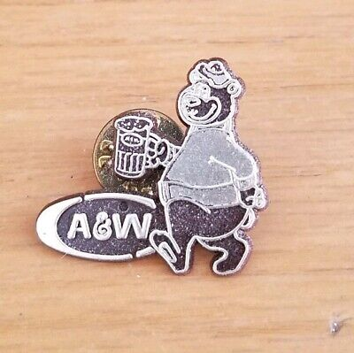 Vintage A & W Root Beer Bear Advertising Souvenir Plastic Lapel Pin
