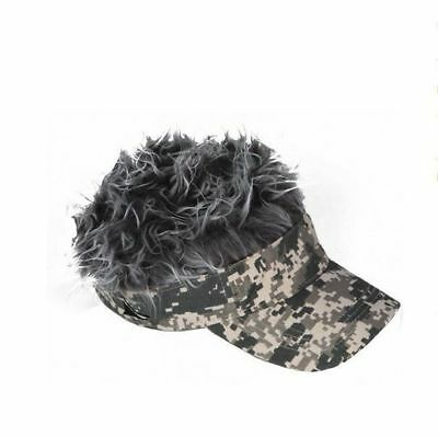 Spiked Hair Digital Camo Visor Cap Joke Novelty Gag Gift Fake Grey Fur Golf Hat