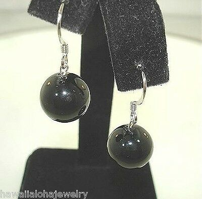 12mm 13.02Cts Pacific Round Black Coral Bead Sterling Silver Hook Wire Earrings