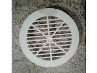Box of 75 x 84mm circular push lock air vent, 70mm air/cut hole, white plastic