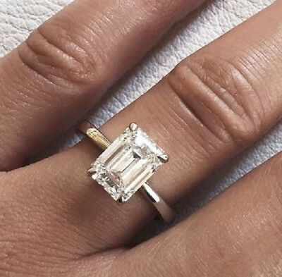 14K WG 1.70 ct Emerald Cut Diamond Engagement Solitaire I, VS1 GIA Certified