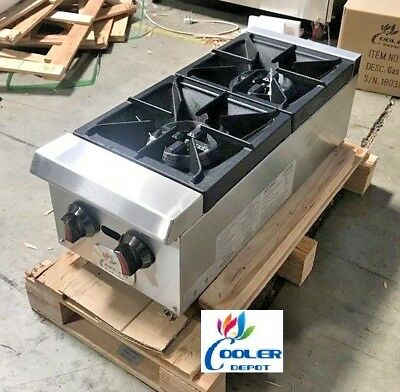 New 12 Two Gas Burner Hot Plate Model Cd-hp12-2 Commercial Restaurant Use Nsf