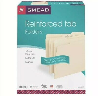 Smead File Folder Reinforced 13-cut Tab Letter Size Manila 100 Per Box