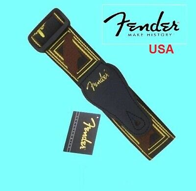 "Genuine Fender ® 2"" Monogrammed Black/Yellow/Brown Guitar Strap 099-0681-000 USA"