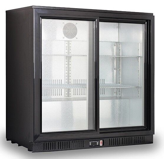 Commercial Sliding Double 2 Door Bottle Display Cooler Fridge Chiller Beer Wine