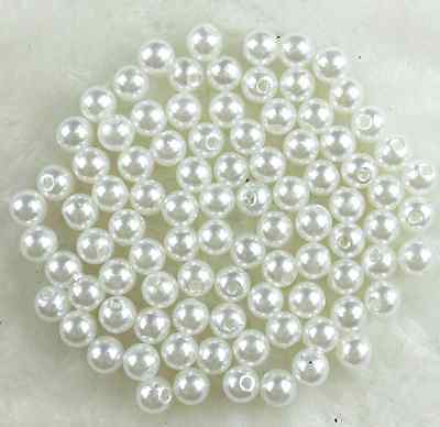 50Pcs 10mm White  Acrylic Round Pearl Spacer Loose Beads