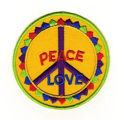 ad82 Peace Zeichen Love Hippie Aufnäher Patch Bügelbild Applikation 7,5 x 7,5 cm
