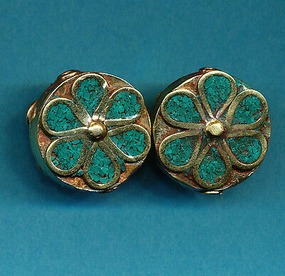 4 Brass Artisan Turquoise Color Circular Flower Bead hand made Nepal Tibetan