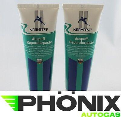 2xNormfest Auspuff Reparaturpaste asbestfrei Auspuff-Abgasanlagen-Reparatur 150g