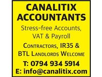 Accounts Bookkeeping Payroll VAT Return Services Corporation Tax CIS Refunds QuickBooks Sage Xero