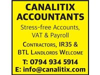 Accounting Bookkeeping Payroll VAT Returns Services Corporation Tax CIS Refund QuickBooks Sage Xero