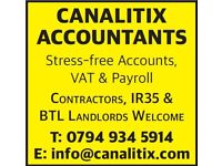 IR35 Accountant Accounts Bookkeeping Payroll VAT Return Services Tax CIS Refund QuickBooks Sage Xero