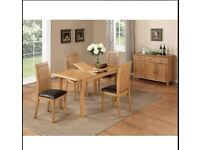 Hartford City Oak Extending Dining table with 6 chair