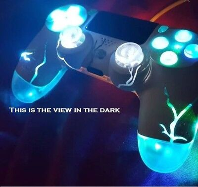 PS4 TechFire wireless Controller LED custom made Lightning Bolt Backdrop Blue - Custom Made Backdrops