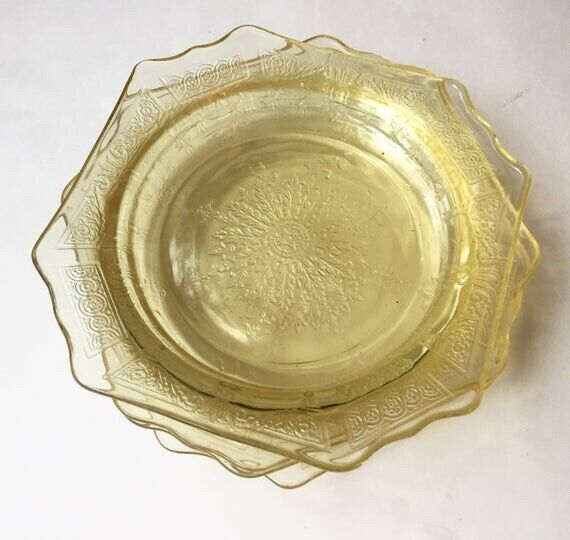 Yellow Depression Glass Bread Plate Set | Anchor Hocking Princess |