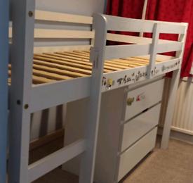 Wayfair Mid sleeper single bed and IKEA Malm drawers