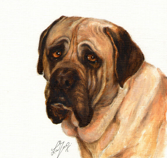 Original Oil DOG Portrait Painting BULLMASTIFF Artwork Art Decor from Artist