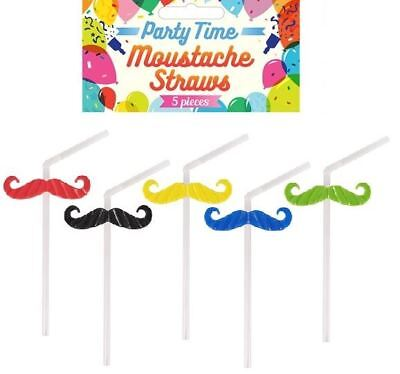 Hipster Moustache Clear Cocktail Drink Straw Novelty Garden Party Selfie - Moustache Straw