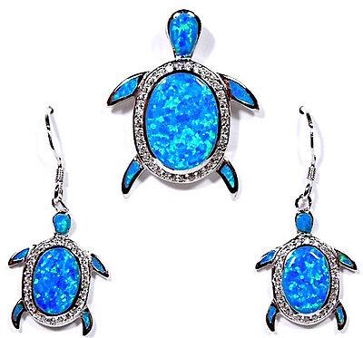 Topaz & Blue Fire Opal Inlay 925 Sterling Silver Turtle Pendant & Earrings set